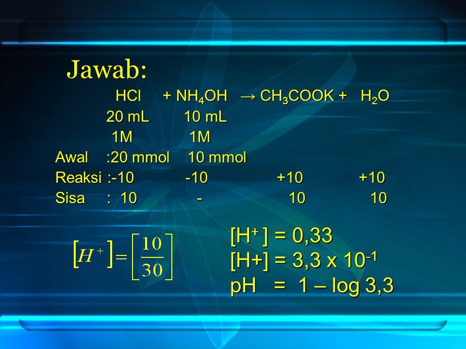 Jawab: [H+ ] = 0,33 [H+] = 3,3 x 10-1 pH = 1 – log 3,3